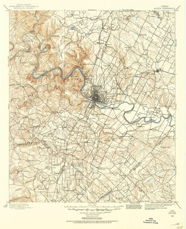 Scan of the 1886 legacy topographic map quadrangle of the greater Austin, Texas area from the USGS.