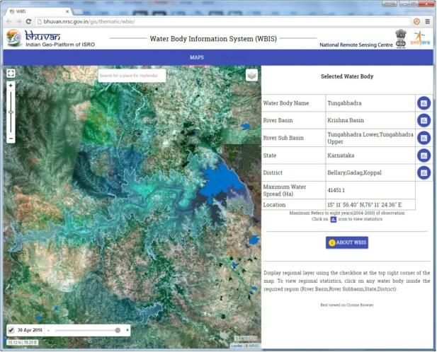 Snapshot showing recent water spread of Tungabhadra reservoir. Credit: ISRO