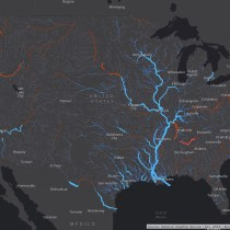 Smart mapping leader Esri today released a robust collection of web maps that display NOAA forecast streamflow data for the continental United States. Credit: Esri