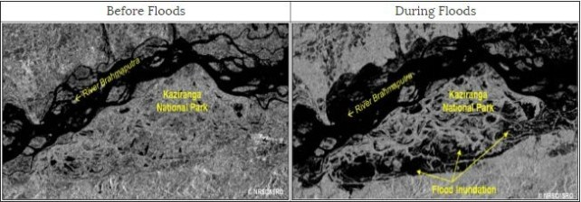 Satellite Images showing the normal and flood conditions at Kaziranga National Park in Assam State. Dark colour indicates water in these Images. Credit: ISRO