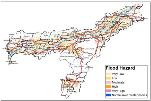 Flood hazard map of Assam (Different colours represent different hazard classes). Credit: ISRO
