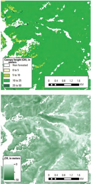 Figure 2. The spatial heterogeneity of canopy height as captured by different products for the same area in Grand County, Colorado. A, Landscape Fire and Resource Management Planning Tools (LANDFIRE) program and B, Creating Hybrid Structure from LANDFIRE/Lidar Combinations tool height products for the same area in Grand County, Colorado.