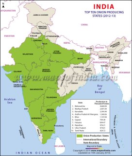 Top Ten Onion Producing States in India Credit: Maps of India