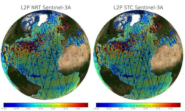 Figure 3: Sea level anomalies (m) from Sentinel-3A L2P NRT(left) and STC (right) products (cycle 12 pass 411 (22-12-2016 06:38:56) to cycle 13 pass 354 (16-01-2017 07:21:38)) after removing spurious measurements.