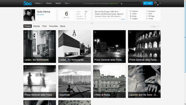 500px Profile Page 2012