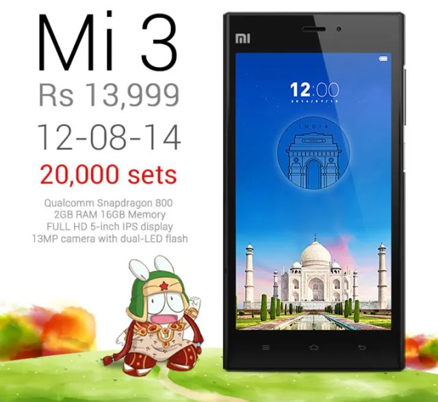 Mi 3 12th aug After receiving flak for the 2 sec long Aug 5 India sale, Xiaomi bump up the numbers for their next
