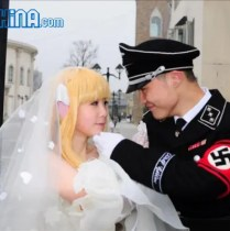 A Chinese couple get married in a Nazi uniform and Japanese cosplay attire
