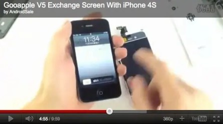 gooapple v5 retina display on iphone 4s video