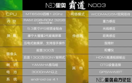 neo n003 specification Neo N003 official specifications and renderings