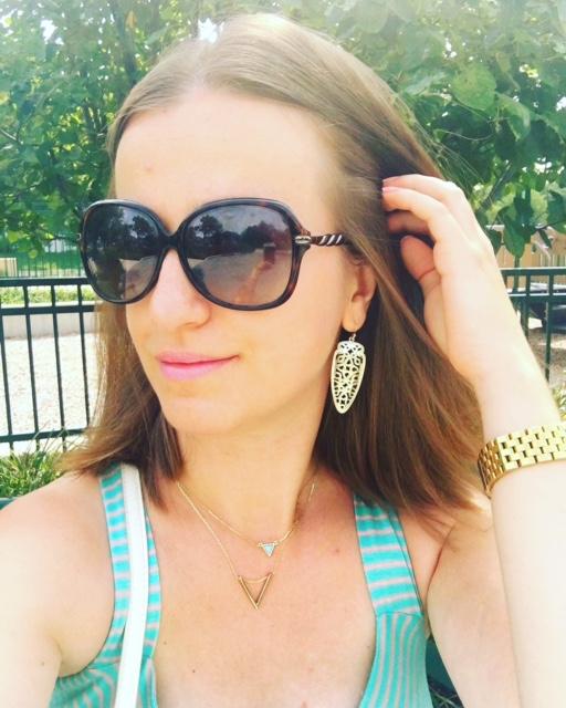 Pastel green bracelet and Kendra Scott earrings