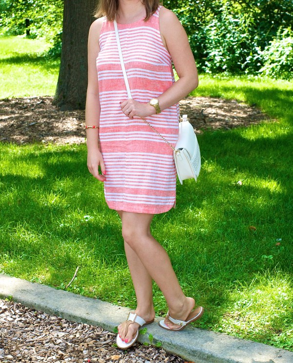 Striped Coral and White Linen Dress