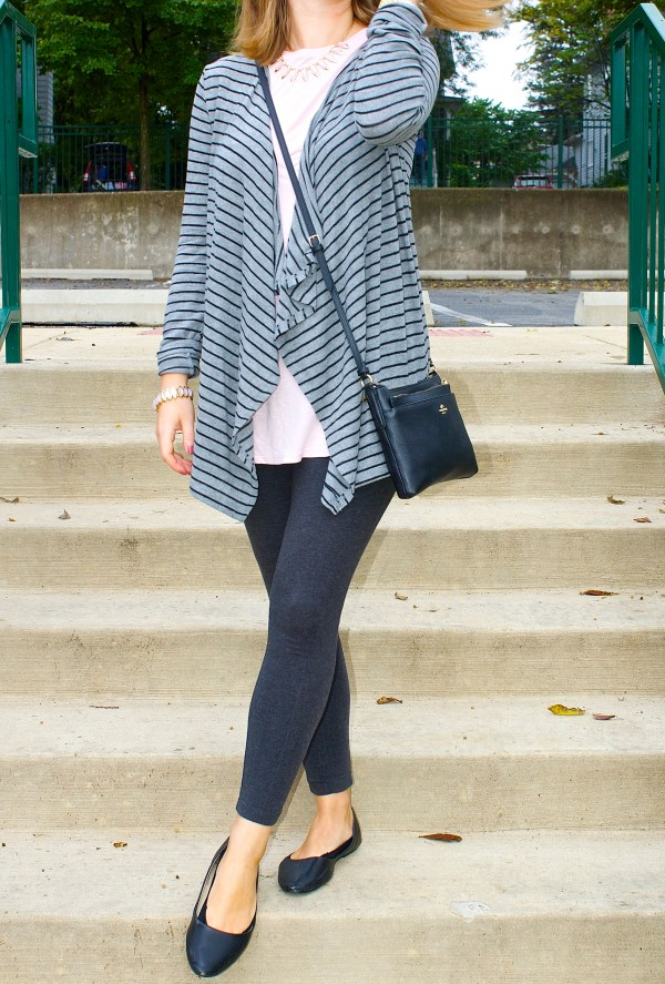Striped Grey Cardigan and Pastel Pink Tunic