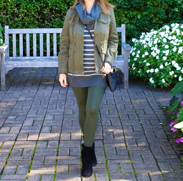 Utility Jacket and Green Leggings - Fall Outfit Idea