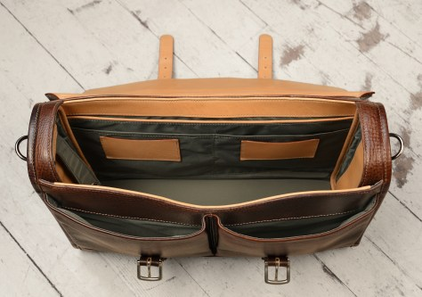 Hand-grained,-hand-colored-espresso-Flaptop-Bag-with-hand-grained-natural-trim;-17-x-12-x-4-topdown2
