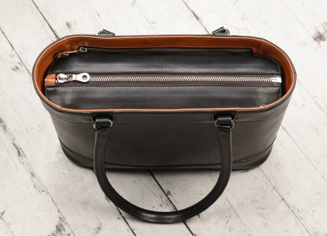 Hand-burnished,-black-Business-Tote-with-chestnut-trim-and-long-handles;-14-x-10-x-4-topdown1