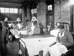 servicemen embroidering