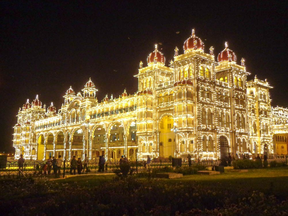 The opulent Mysore Palace illuminated at night