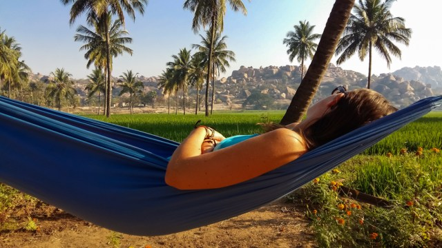 Chilling in a hammock in Hampi, India. If only all accommodation like this was free