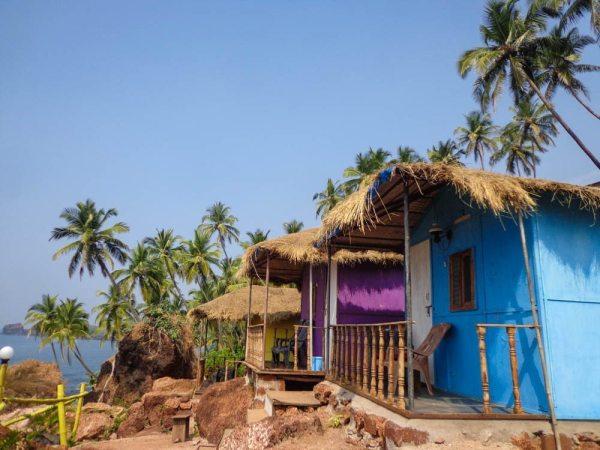 Cute beach huts in Goa