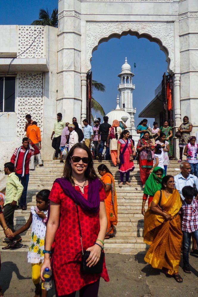 In India dress at the Haji Ali Mosque in Mumbai