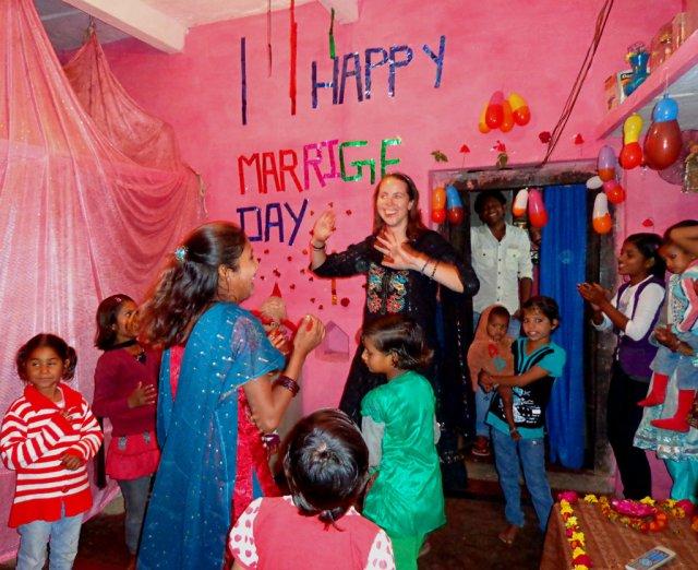 At a wedding anniversary party in Khajuraho