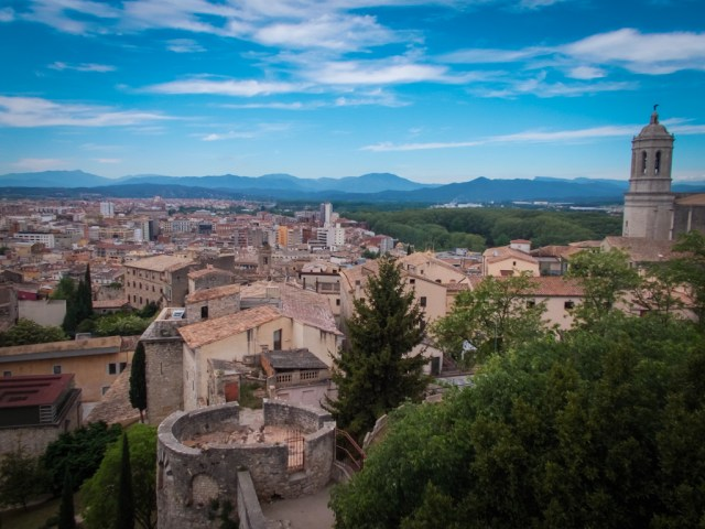 views over Girona to the Pyrenees from the old city walls
