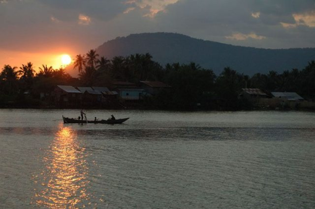 Sunset over the river in Kampot