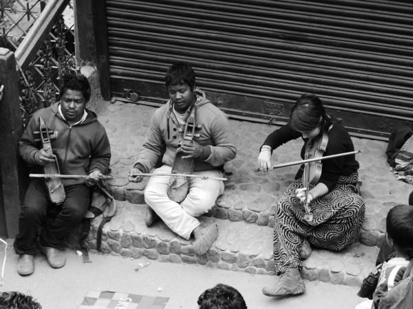 Busking with 2 Nepali musician