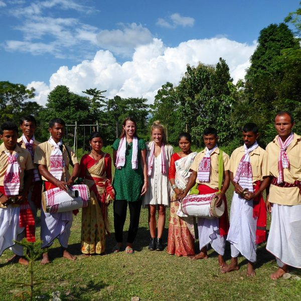 Receiving a tradtional welcome and dance is Assam, North East India