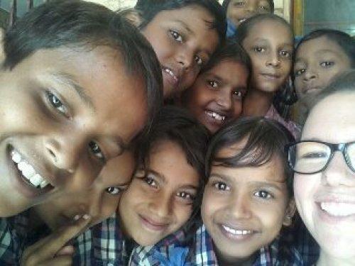 Sarah teaching english in India