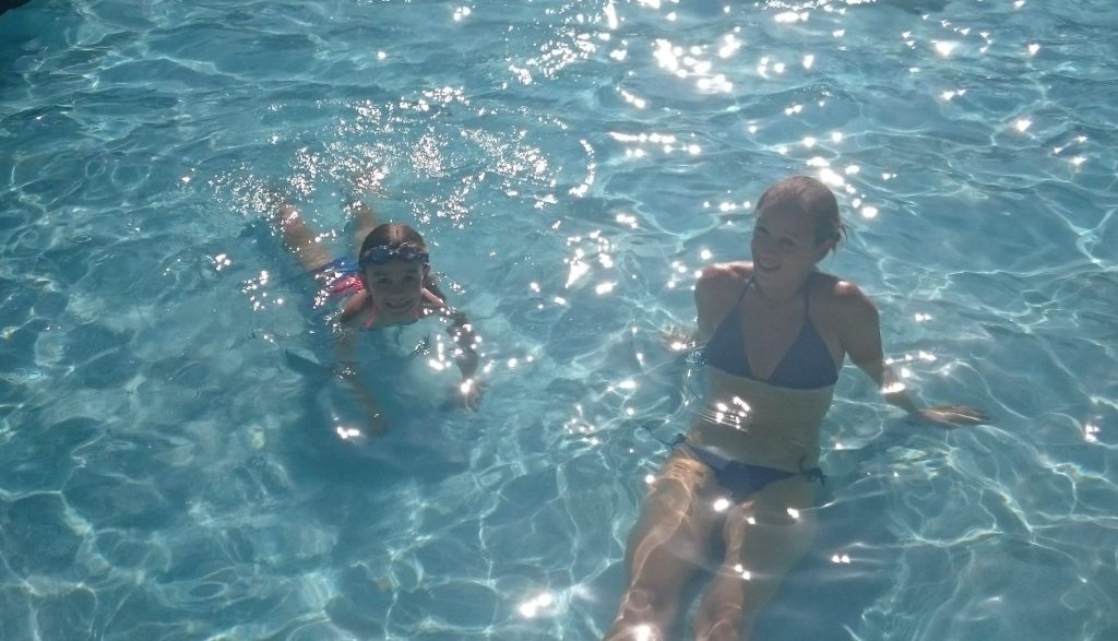 Swimming in the pool in Haiti
