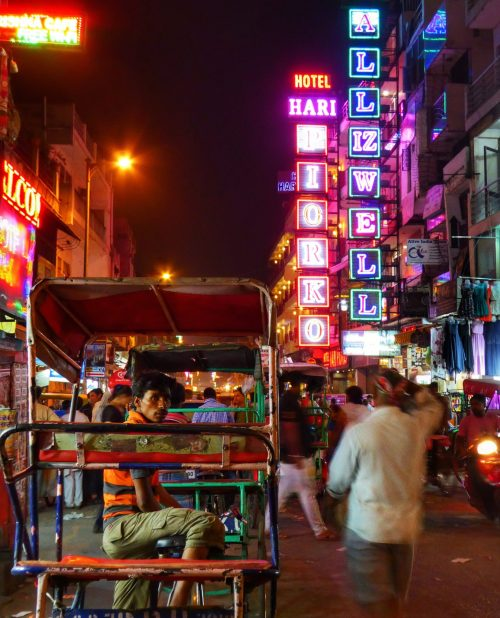Streets at night time in Paharaganj, Delhi, India
