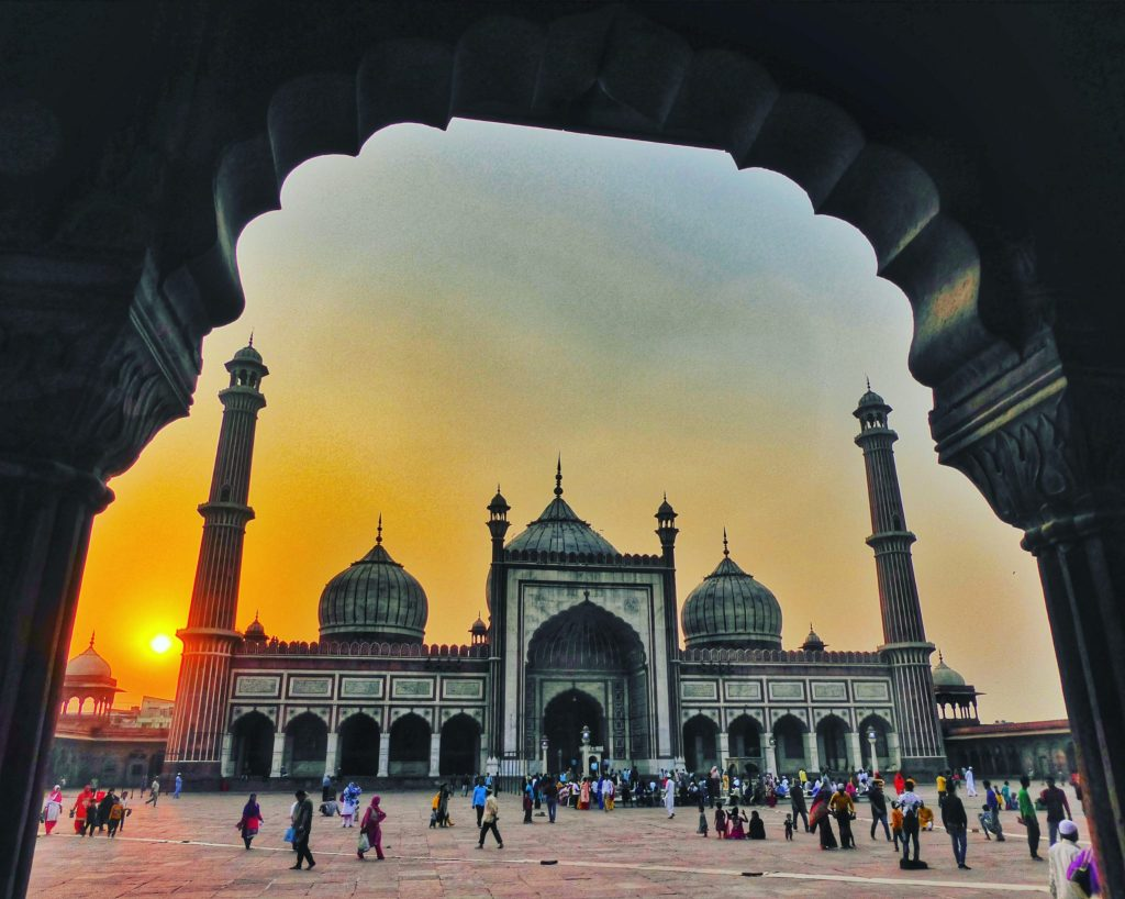 The magestic Jama Masjid in New Delhi at sunset