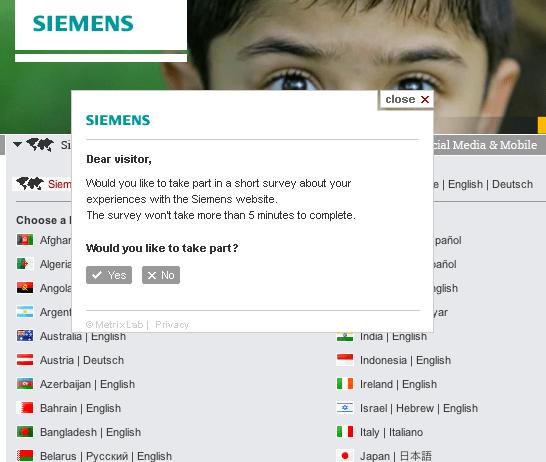 Siemens web survey