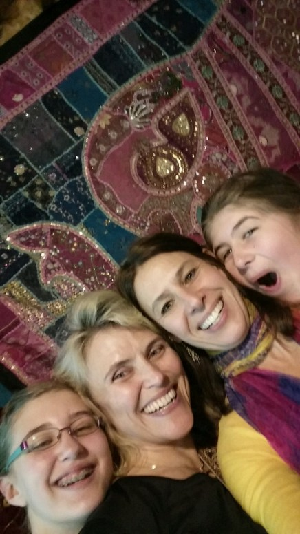 Fun in front of the elephant bedspreads! Thanks to Hllary for this photo!