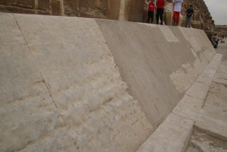 Some of the limestone casing left at the bottom of one of the pyramids
