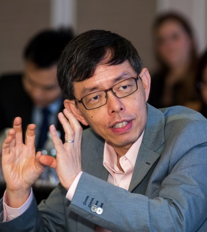 Mr Peter Ong, pictured here speaking at Global Government Forum's Global Government Summit, will remain head of Singapore's civil service.