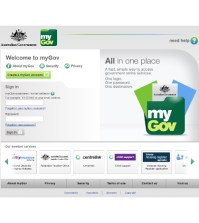 The homepage of Australian government's online service portal myGov