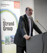 John Kingman, former second permanent secretary at the UK Treasury, giving a lecture for the Strand Group, an arm of the Policy Institute at King's College London