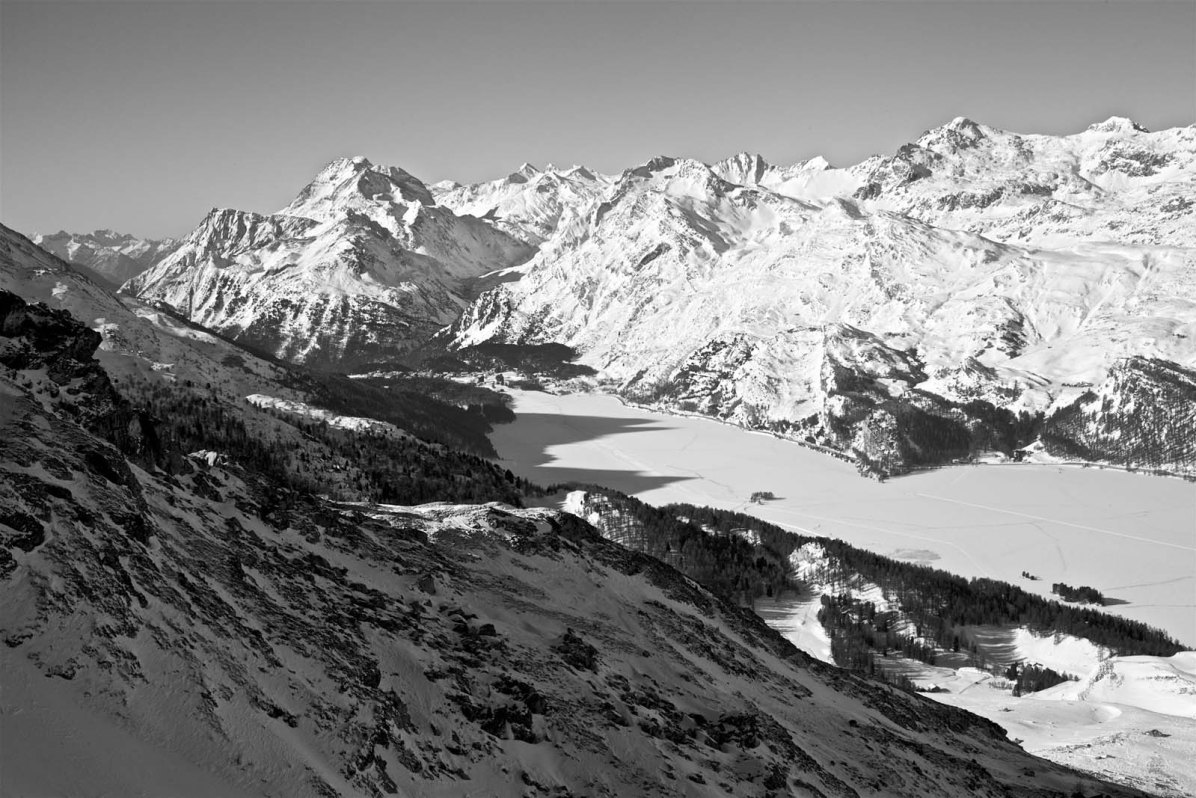 Blick auf den Silsersee im Oberengadin