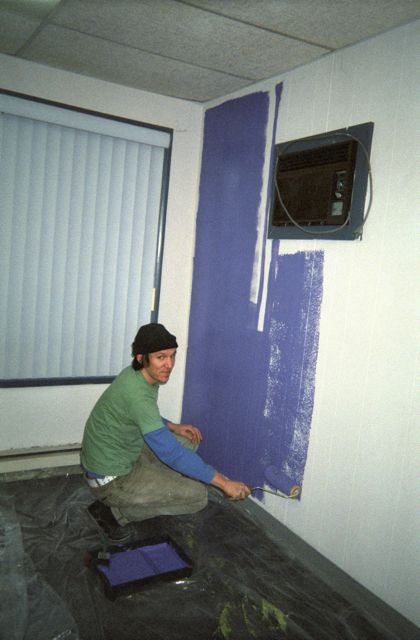 Elliott painting the original Jackpot! building