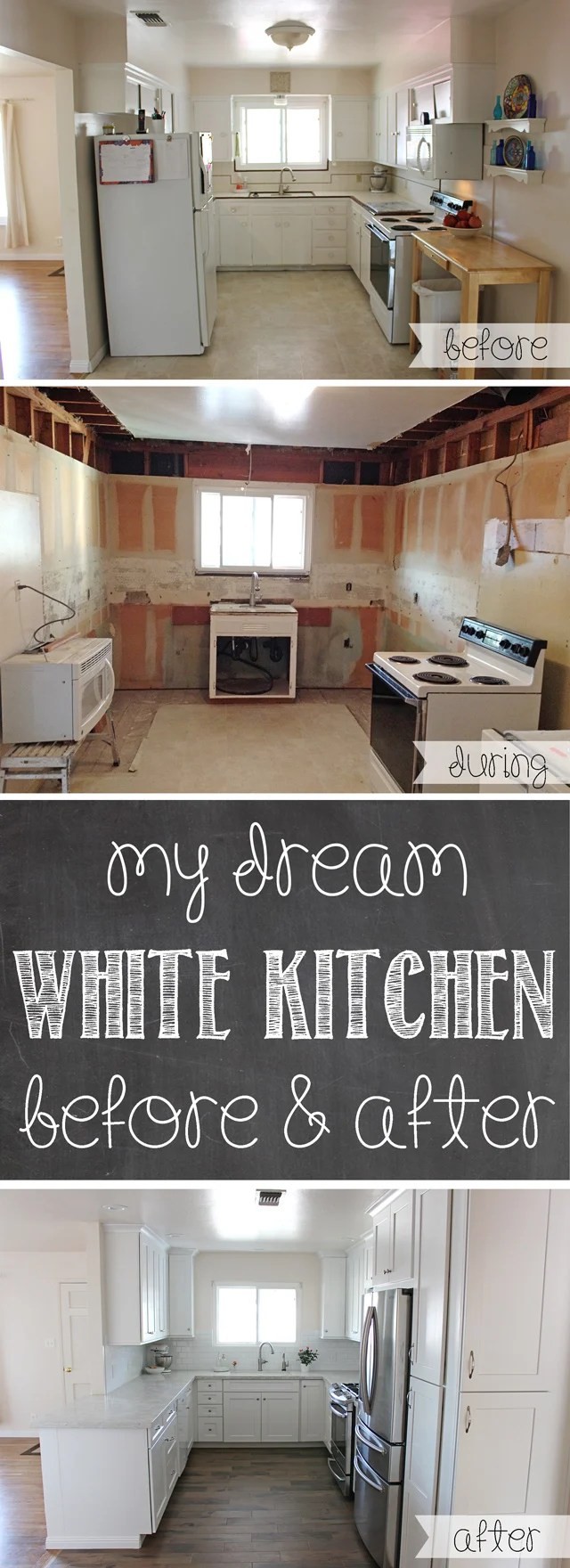my dream white kitchen kitchen remodeling cost GORGEOUS Kitchen Remodel Lots of before and after photos tips for remodeling cost