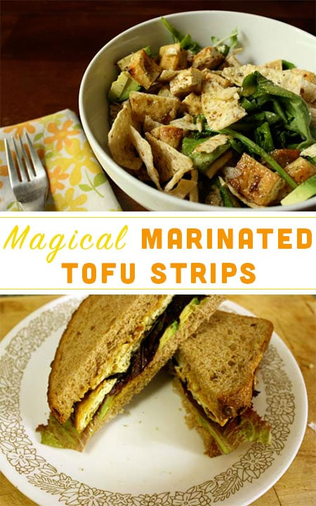 Thin strips of marinated baked tofu are a toothsome addition to salads, sandwiches, soups, and wraps.