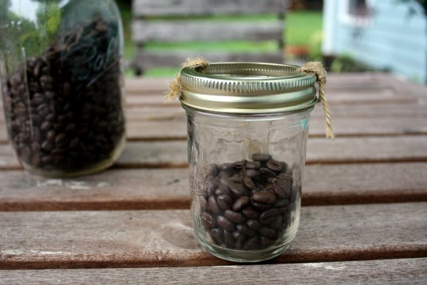 Mason Jar Lantern Filled with Coffee