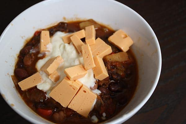 chli with vegan cheese