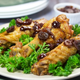 savory turkey wings with homemade cranberry sauce