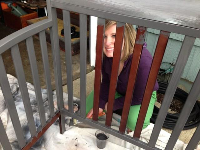 Painting the baby crib!