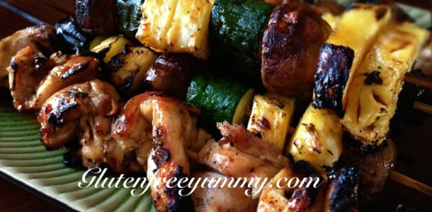 Coconut sticky chicken skewers