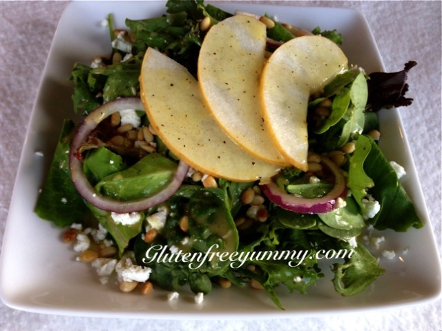 Crisp Asian -pear & chevre salad with Maple-dijon dressing & pine nuts.