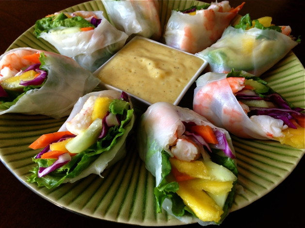These little spring rolls make a beautiful appetizer in the colorful display of fruits and veggies.